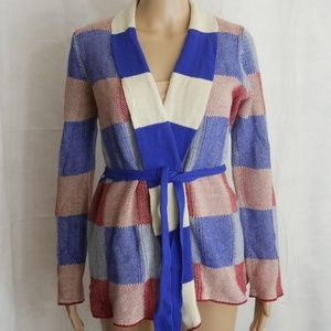 ModCloth Womens Red White Blue Cardigan Sweater